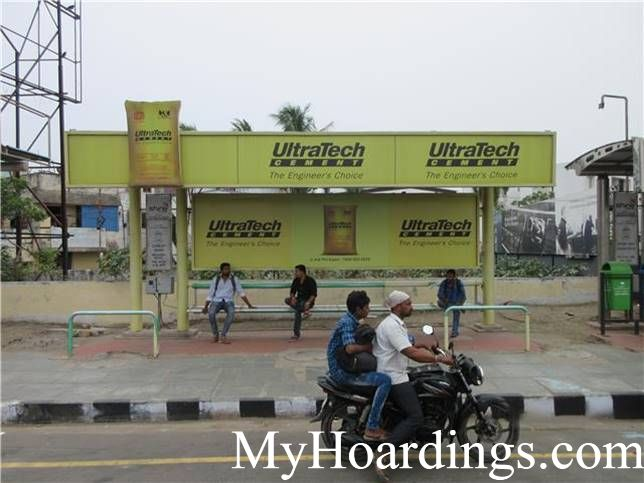 Best OOH Ad agency in Chennai, Bus Shelter Advertising Company atCement Road Bus Stop 1 in Chennai