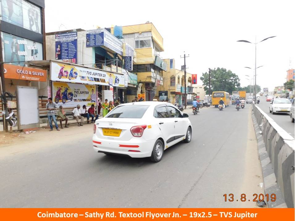 Best OOH Ad Agency in Coimbatore, Bus Shelter Advertising Company at Sathy Road Textool Flyover Jn in Coimbatore