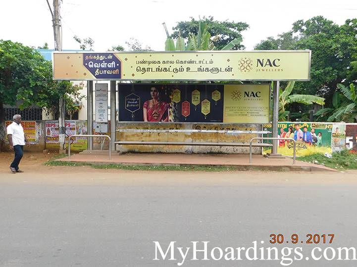 How to Book Bus Queue Shelter Hoardings Advertising Uzhavar Santhai Bus Stop in Chennai, Tamil Nadu