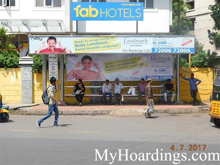 Best OOH Ad Agency in Chennai, Bus Shelter Hoardings Rates in Wallajah Road Bus Stop Chennai