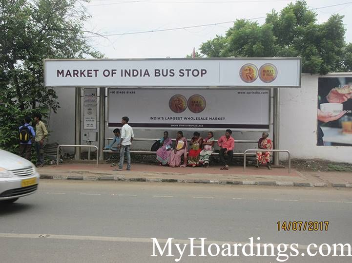 OOH Advertising Chennai, Bus Shelter Hoardings Agency at  Binny Mills bus Stop in chennai