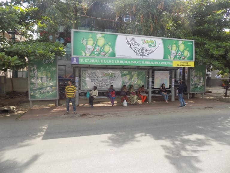 OOH Hoardings Agency in India, Bus Shelter Branding Company in Indiranagar Bus Stop Bengaluru