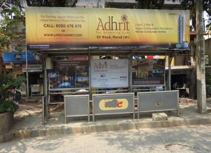OOH Hoardings Agency in India, Bus Shelter Branding Company in Kandivali West Bus Stop Mumbai