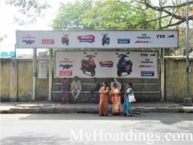 Cost of Bus Shelter Advertising at Bharathi Arts College 3 in Chennai, Outdoor Media Agency Chennai, Tamil Nadu