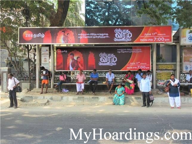 Hoardings rates in Chennai, Bus Shelters at Dhashaprakash Bus Stop in Chennai, Flex Banner TN