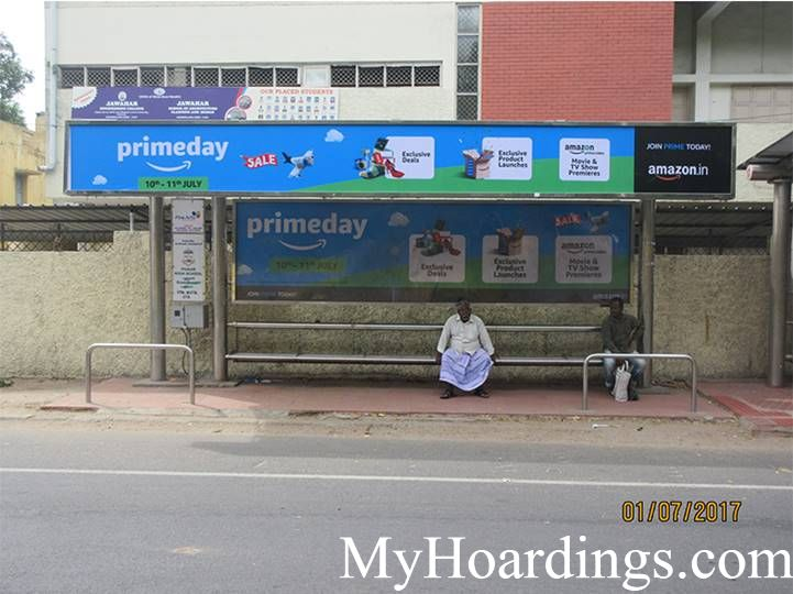Best OOH Ad agency in Chennai, Bus Shelter Hoardings Rates in Dr Ambedkar Road, Pudur School Opp Bus Stop Chennai