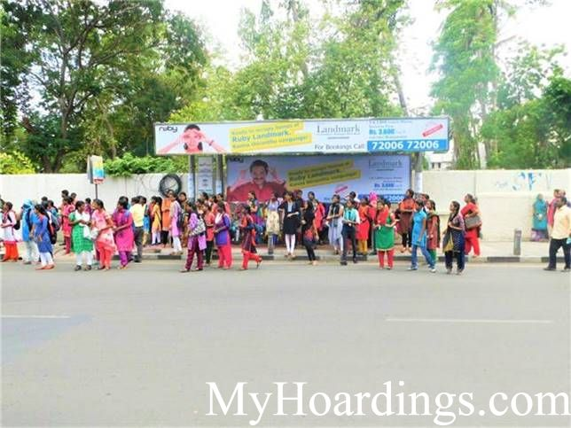 Ethiraj college Bus stop advertising, Advertising Company Chennai, Flex Banner in Chennai