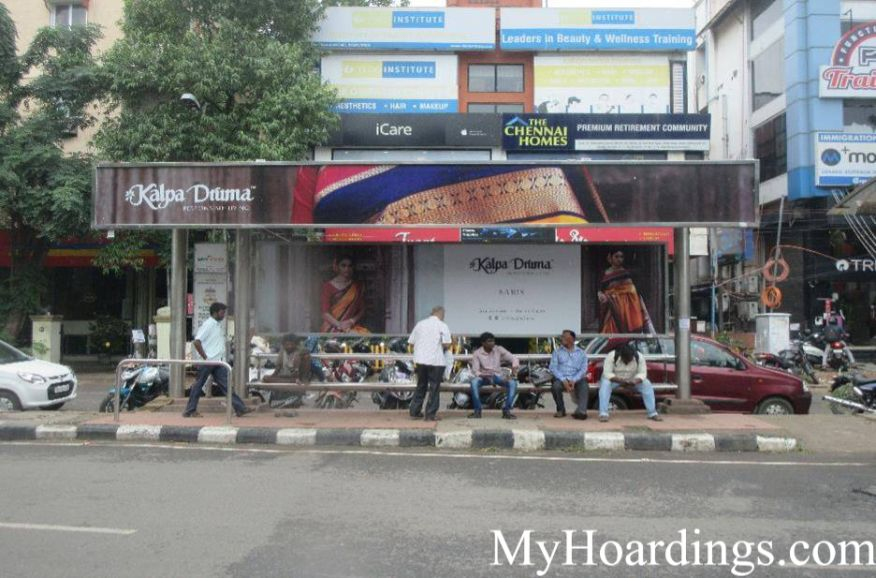 How to Book Bus Queue Shelter Hoardings Advertising Malar Hospital Bus Stop in Chennai, Tamil Nadu