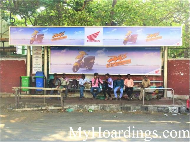 Hoardings rates in Chennai, Bus Shelters at Pallavan Salai Bus stop in Chennai, Flex Banner TN