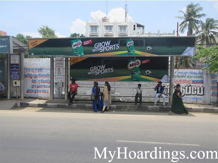 How to Book Bus Queue Shelter Hoardings Advertising Power House Bus Stop in Chennai, Tamil Nadu
