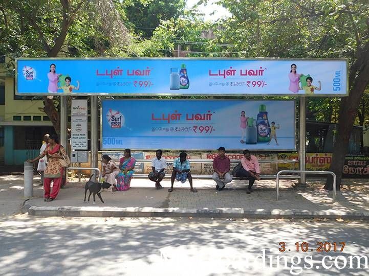 Cost of Bus Shelter Advertising at Pt Rajan Road, Sivan Park Opp Bus Stop in Chennai, Outdoor Media Agency Chennai, Tamil Nadu