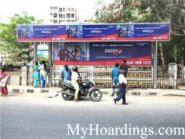 Hoardings rates in Chennai, Bus Shelters at SIET College Bus Stop in Chennai, Flex Banner TN