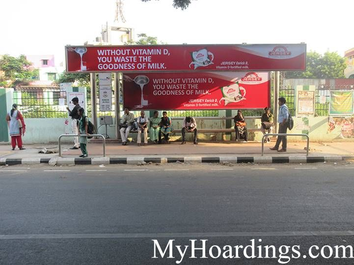 Bus Stop Ads at Sidco Bus Stop in Chennai, Best Hoardings advertising company in Chennai