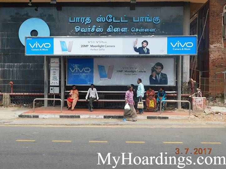 Hoardings Advertising in Chennai, Bus Stop Ads Agency in State bank of India Bus Stop in Chennai