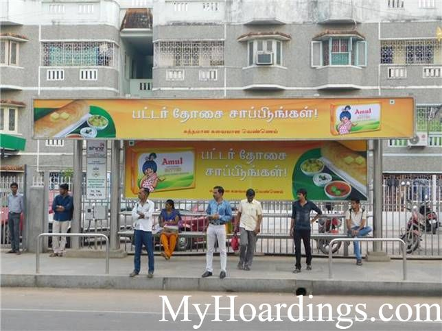 How to Book Bus Queue Shelter Hoardings Advertising Thirumangalam Metro Station Bus Stop 1 in Chennai, Tamil Nadu