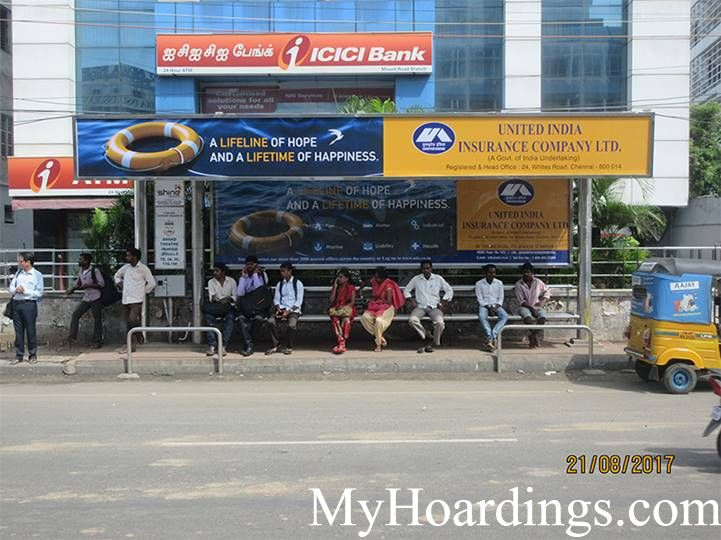 OOH Hoardings Agency in India, BQS Advertising rates at Thousand Light (Near ICICI Bank)Bus Stop in Chennai, Tamil Nadu