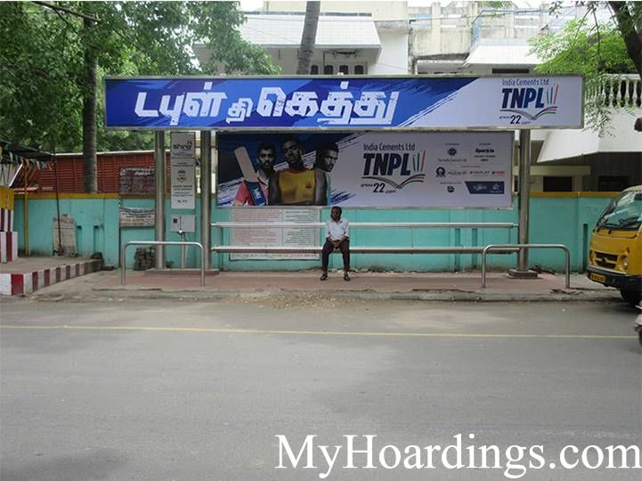 OOH Hoardings Agency in India, Bus Shelter Branding Company in 12th Avenue Mettupalayam Bus stop Chennai