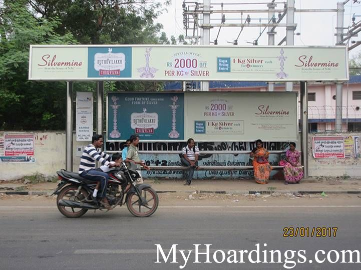 Bus Stop Ads at BB Road Bus stop in Chennai, Best Hoardings advertising company in Chennai