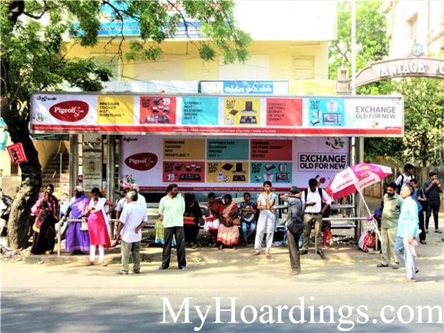 OOH Hoardings Agency in India, Bus Shelter Branding Company in Besant Nagar 7th Avenue Vannadurai Bus Stop Chennai