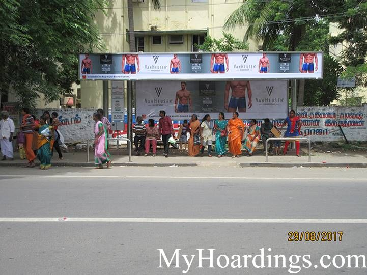 Hoardings Advertising Agency, BQS Advertising rates at Besant Nagar Bus Terminus Bus Stop Chennai TN