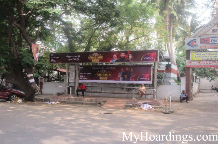 Cost of Bus Shelter Advertising at Blue Star Bus Stop in Chennai, Outdoor Media Agency Chennai, Tamil Nadu