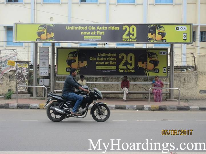 BQS Branding Agency at Brinda Theatre Bus Stop in Chennai, Hoardings Rates at Bus Stop in Chennai