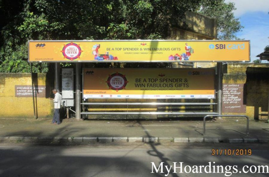 Bus Shelter agency at Dr Ambedkar Road, Pudur School Bus Stop in Chennai, Best Outdoor Advertising Company Chennai, Tamil Nadu