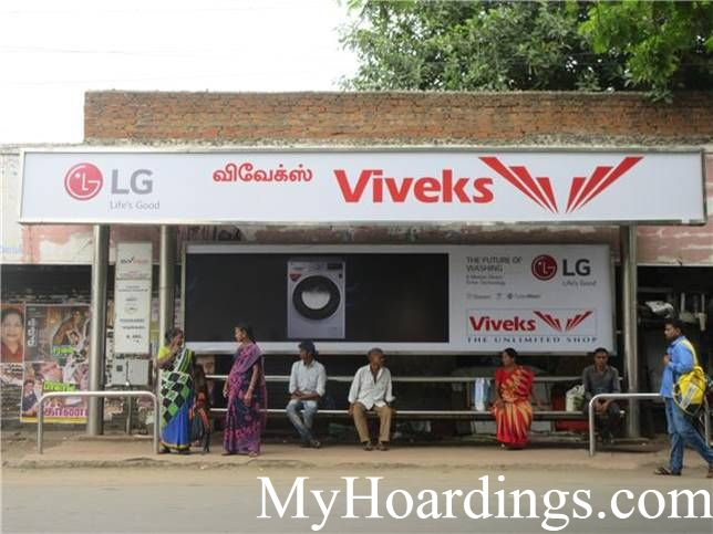How to Book Bus Queue Shelter Hoardings Advertising K.H.Road, PODIKADAI Opp Bus stop in Chennai, Tamil Nadu