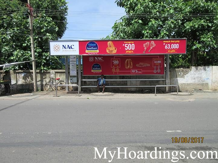 Cost of Bus Shelter Advertising at Madhavaram Post Office Bus Stop in Chennai, Outdoor Media Agency Chennai, Tamil Nadu