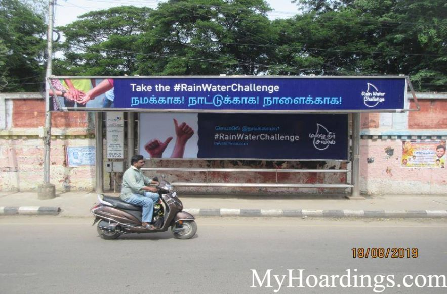 Bus Stop Ads at Medavakkam Mental Hospital Bus Stop in Chennai, Best Hoardings advertising company in Chennai