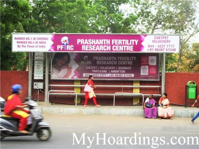 Bus Shelter agency at Pachiyappan College Metro Station  Bus Stop 1 in Chennai, Best Outdoor Advertising Company Chennai, Tamil Nadu