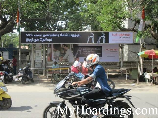 Best OOH Ad agency in Chennai, Bus Shelter Advertising Company at West Mugapair Bus Stop 1 in Chennai