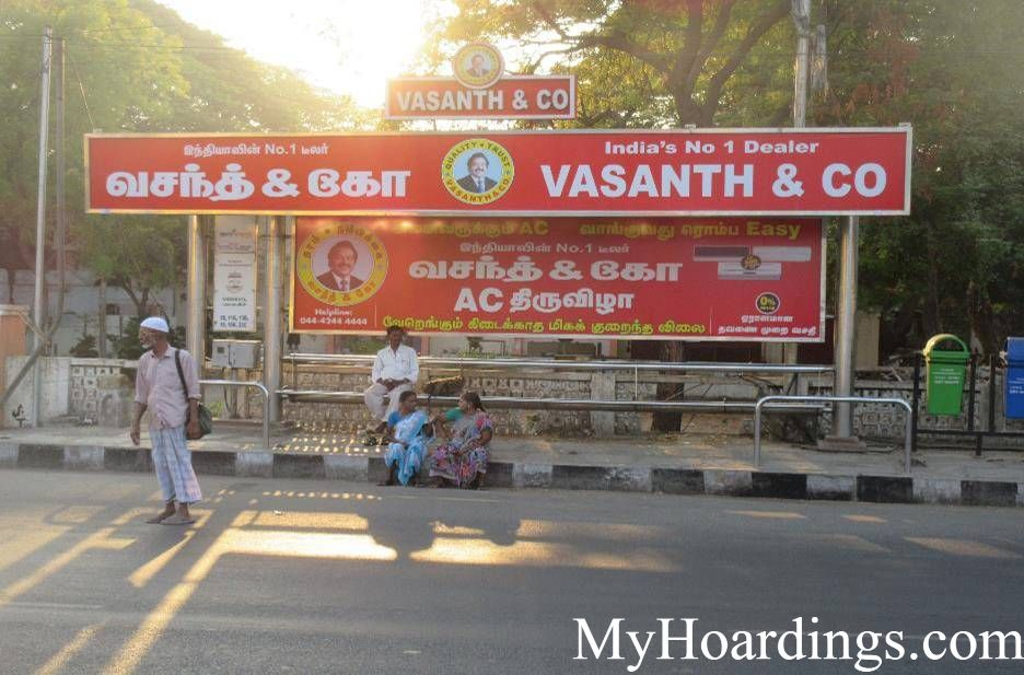OOH Hoardings Agency in India, Bus Shelter Branding Company in Anna Arivalayam Bus Stop Chennai