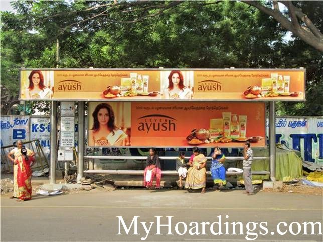 OOH Advertising Chennai, Bus Stop Advertising in Gandhi Nagar Hospital Opp Bus Stop, Hoardings Agency in Chennai