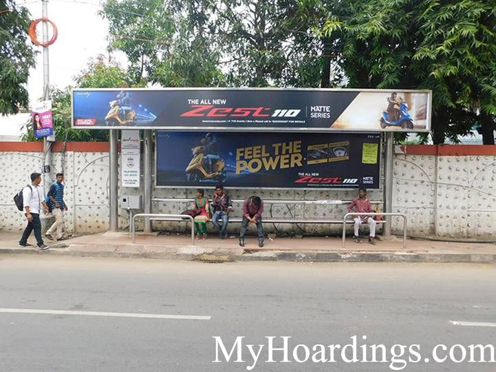 Bus Shelter agency at Palm Grove Hotel Bus Stop in Chennai, Best Outdoor Advertising Company Chennai, Tamil Nadu