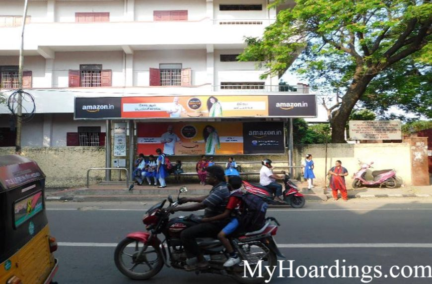 Best OOH Ad agency in Chennai, Bus Shelter Advertising Company at Santhome chruch bus stop in Chennai