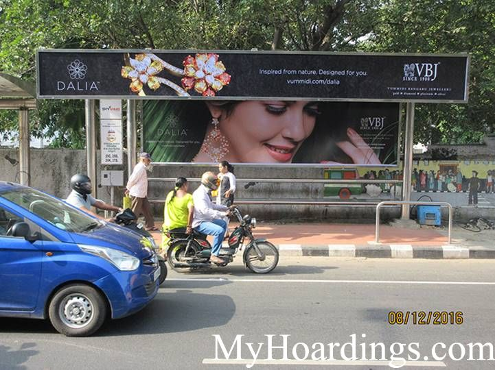 Cost of Bus Shelter Advertising at Stella Maris Bus Stop in Chennai, Outdoor Media Agency Chennai, Tamil Nadu