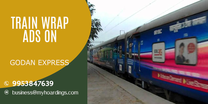 Call MyHoardings at 995384-7639 for Advertising on Godan express train,How to do train wrap ads in India?