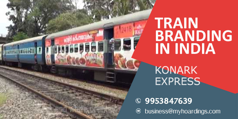 Train branding on Konark Express,Railway advertising agency in India.