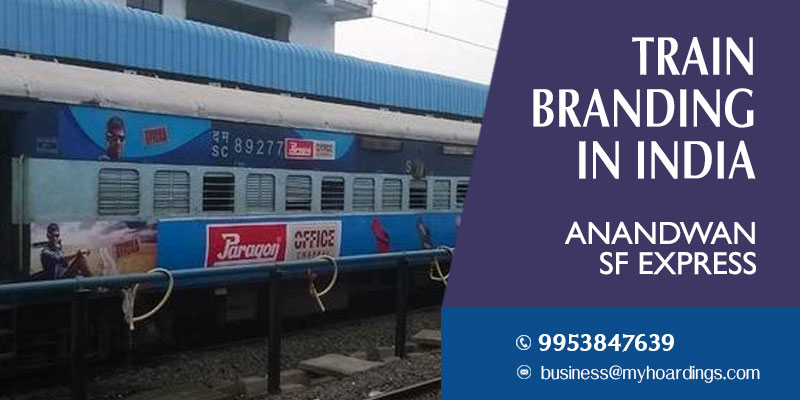 Train wrap ads on Anandwan SF Express Train.Train advertising company in Telangana and Maharashtra.