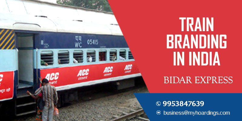 Train wrap branding on Bidar Express Train.Railway platform branding agency in Karnataka and Maharashtra.