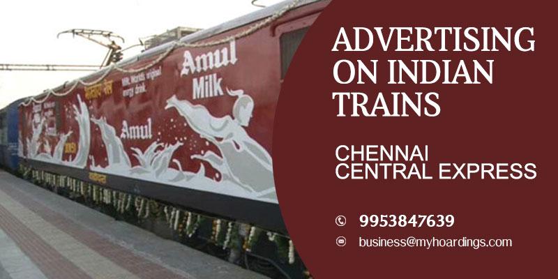 Chennai central express Train Branding.Top transit media agencies in Chennai and Bengaluru.
