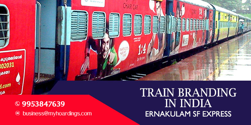 Advertise on Ernakulam SF Express train.Branding agency for Indian Railways.Branding on trains in Goa and Kerala..