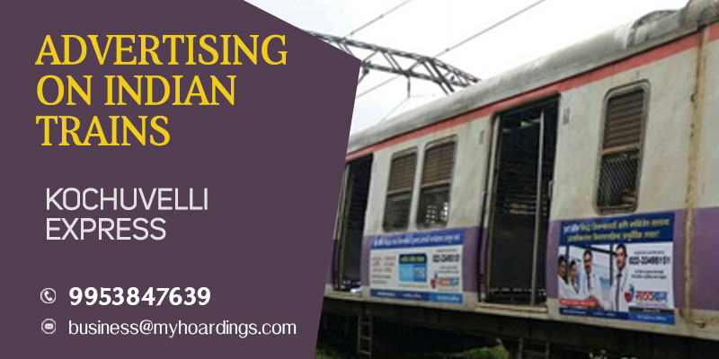 Call 9953-847639 for Train wrap ads on Kochuvelli Express Train. Railway Platform Branding in Maharashtra, Goa, Karnataka and Kerala.