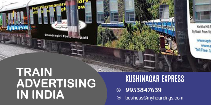 Train wrap branding on Kushinagar Express Train.Railway advertising in UP and MP trains.