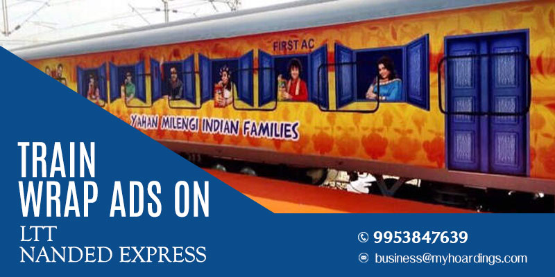 Branding on LTT Nanded Express Train.Branding on trains in Maharashtra.