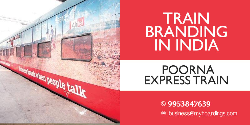 Branding on trains in Kerala and Goa.Poorna Express Train wrap advertising