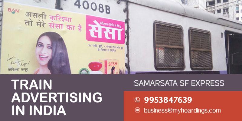 Samarsata SF Express train branding. Platform advertising with Indian Railways. Digital and display branding on platforms.