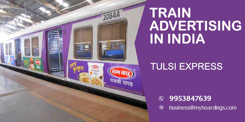 Train wrap branding on Tulsi Express Train. Sticker wrap with Western and SW Indian Railways