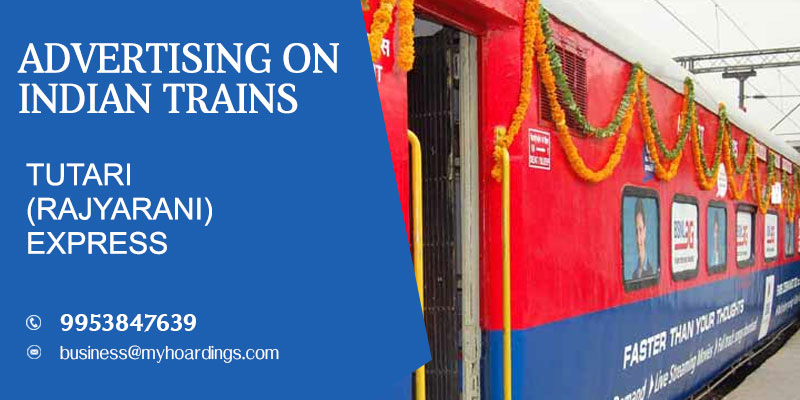 Train wrap ads on Tutari (Rajyarani) ExpressTrain.OOH ad campaign on Trains.